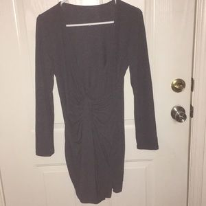 New Women's Gray Twist Front long Sleeve Dress Med